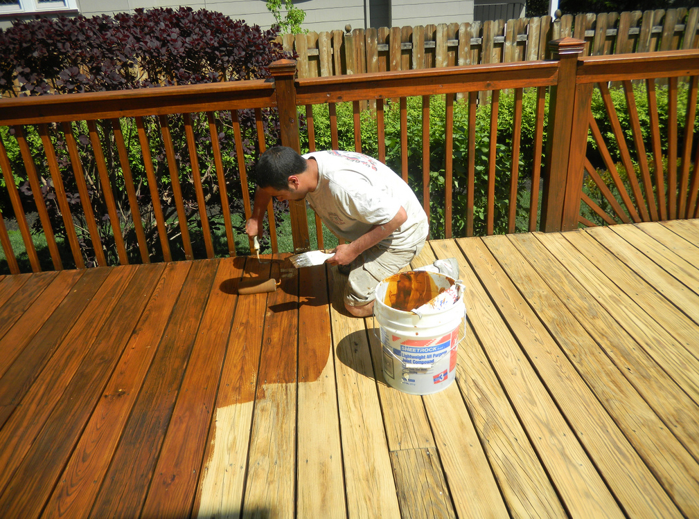 staining a deck is part of deck refinishing